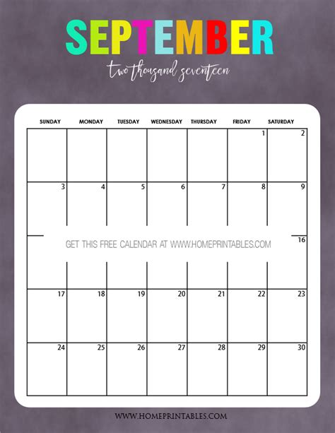 Calendar September 2017 Printable Free 2017 Calendar Printable Bold And Beautiful Home