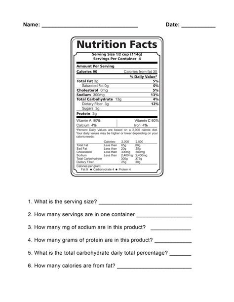 Nutrition Worksheets Pdf