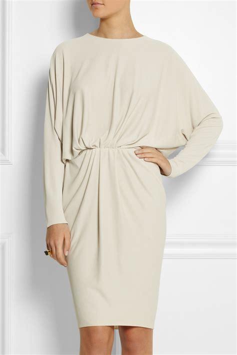 draped crepe dress lanvin draped crepe dress in white lyst