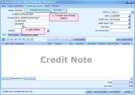 Contoh Format Credit Note Credit Note