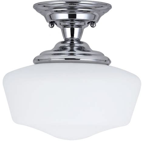 academy 1 light chrome small semi flush mount with satin