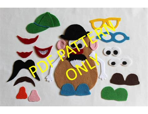 mr potato felt template pattern only mr potato felt by thatgirlscrafts