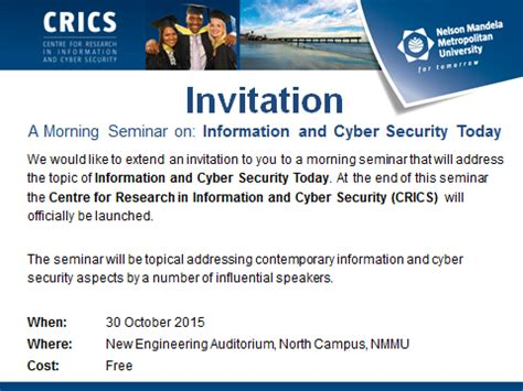 Invitation to Seminar on Information and Cyber Security