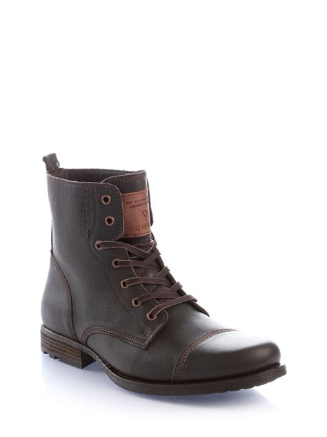 guess boots guess low leather boot in brown for brown