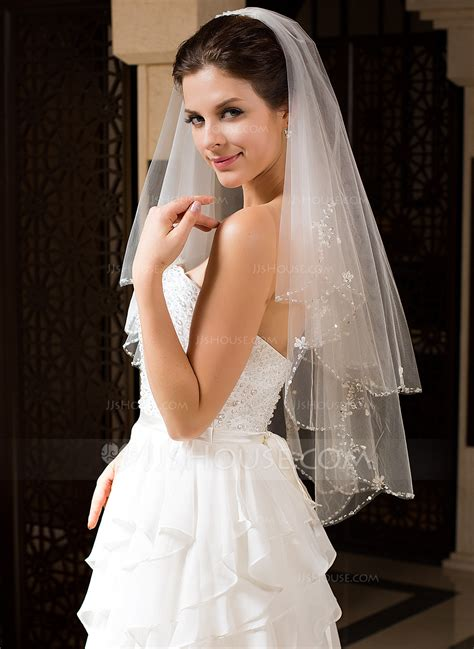 wedding veils two tier bridal veils with beaded edge 006034328 jjshouse