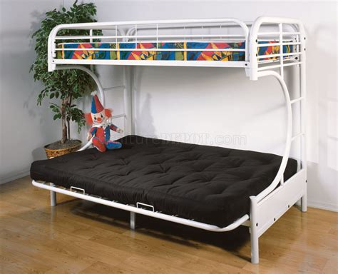 bunk beds with a futon c style white finish contemporary twin futon bunk bed