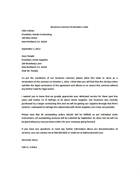 contract termination letter sle business contract