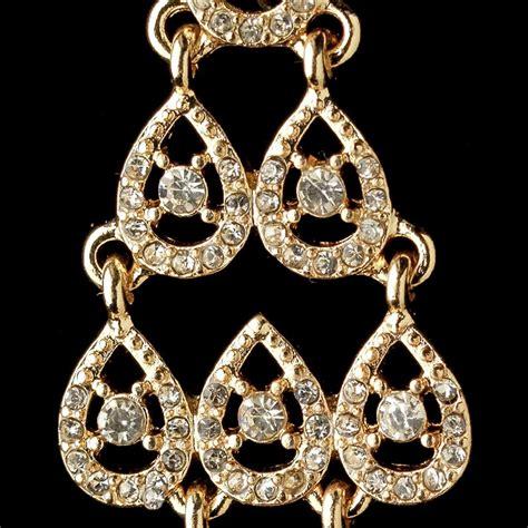 Gold Rhinestone Chandelier Earrings Gold Clear Rhinestone Chandelier Earrings 389