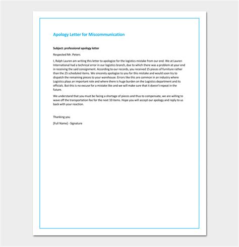 Apology Letter Miscommunication Apology Letter Template 33 Sles Exles Formats
