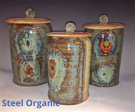 pottery kitchen canister sets handmade 3 ceramic kitchen canister set m l xl size