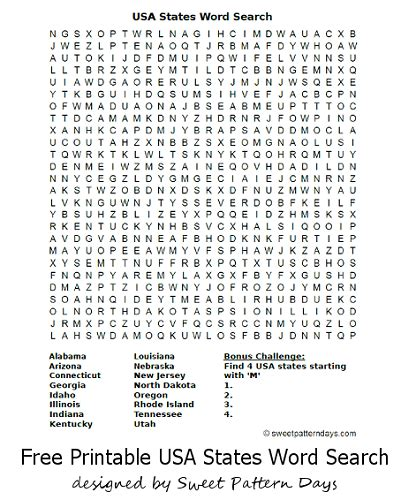 Search Usa Free Usa States Word Search Activity Printables