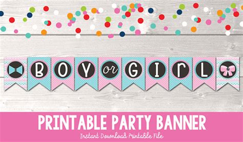 printable gender reveal banner printable gender reveal party banner instant download boy or