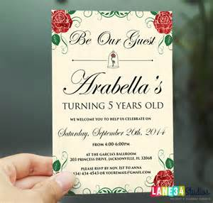 sale birthday invitation rose beauty and the beast by