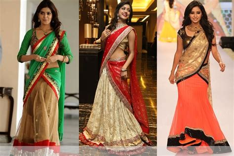 half saree draping quirky ways to drape a dupatta over wedding lehenga shop