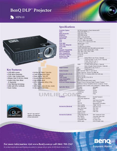 Lu Projector Benq Mp610 free pdf for benq mp610 projector manual