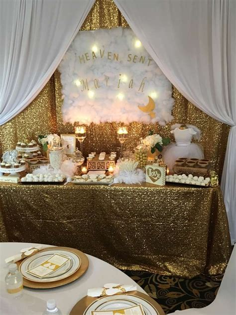 White And Gold Baby Shower Theme by Heaven Sent Baby Shower Ideas Gold Baby Showers