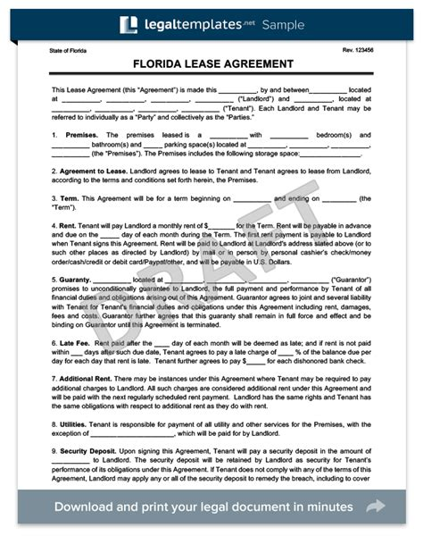 florida rental lease agreement templates florida residential lease rental agreement create