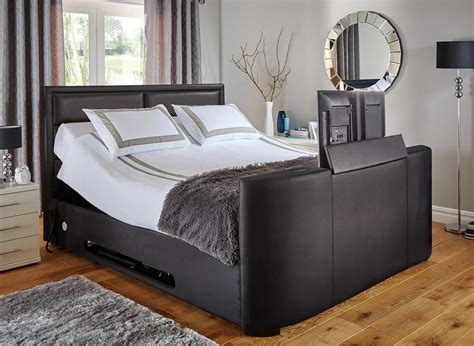 bed frame with built in tv truscott black faux leather tv bed frame
