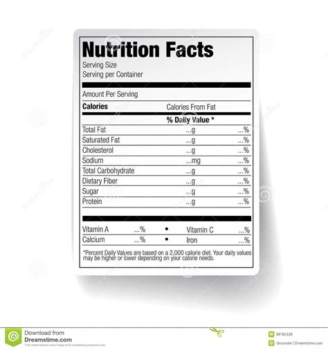 nutrition facts table template nutrition facts food label stock vector image of