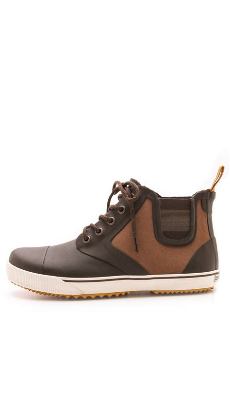 tretorn gunnar canvas rubber boots in brown for lyst