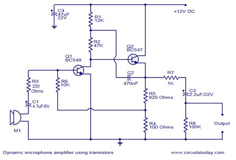 dynamic microphone lifier using transistors circuit diagram world