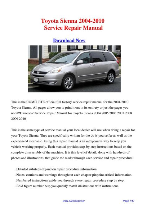 service manuals schematics 2012 toyota sienna auto manual toyota sienna 2004 2010 service repair manual by fu juan issuu