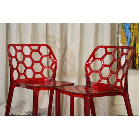honeycomb red acrylic modern dining chair  white