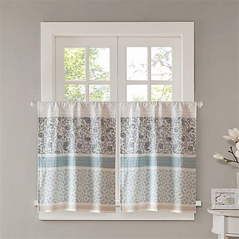 24 Inch Kitchen Curtains Buy Park 24 Inch Kitchen Window Curtain Tier Pair In Blue From Bed Bath Beyond