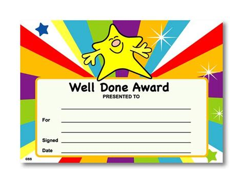 certificate well done award