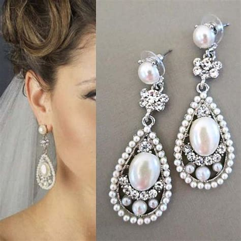 braut ohrringe tropfen bridal drop earrings bridal earrings with pearl wedding
