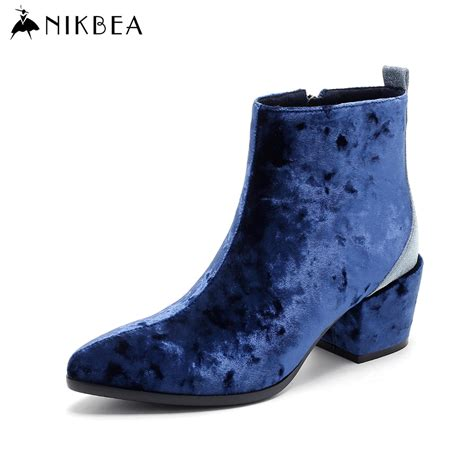 blue suede high heel boots aliexpress buy nikbea fashion ankle boots pointed
