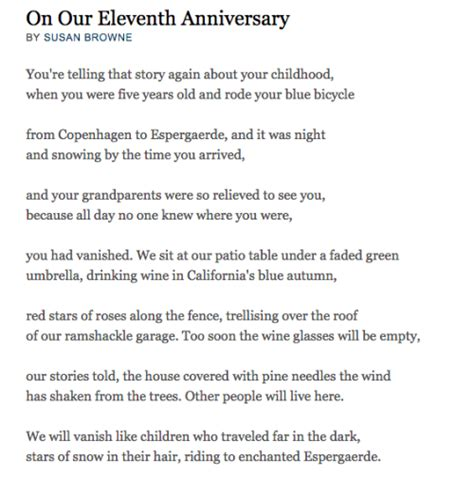 the human line on our eleventh anniversary by susan browne