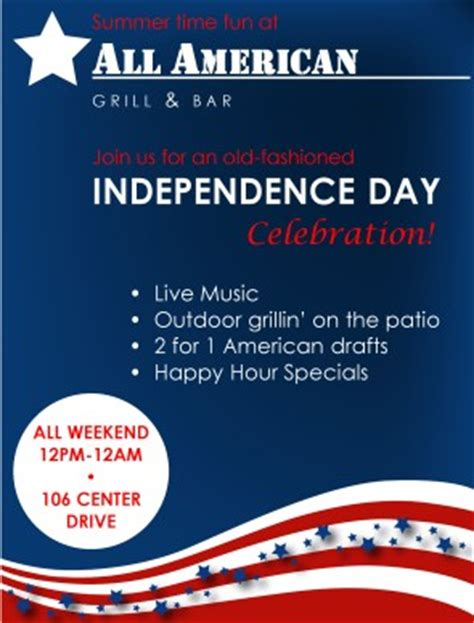 4th Of July Menu Template by 4th Of July Flyer 4th Of July Flyers