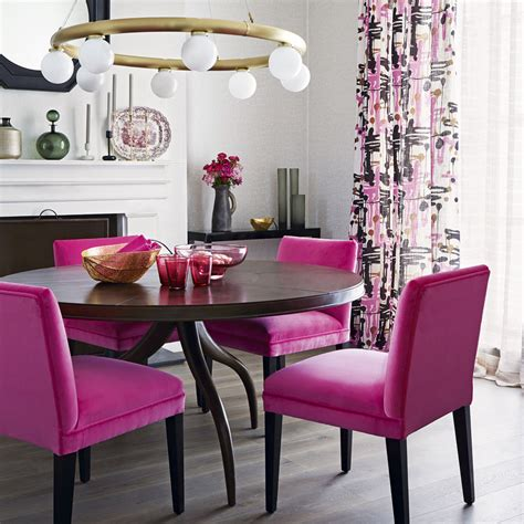 bright pink armchair colourful dining room ideas