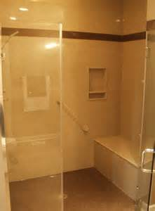 walk in shower with build in bench aging in place