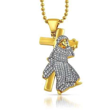 Bling Bling Jesus Pendant by Jesus Carrying Cross Gold Cz Bling Bling Pendant New Hip