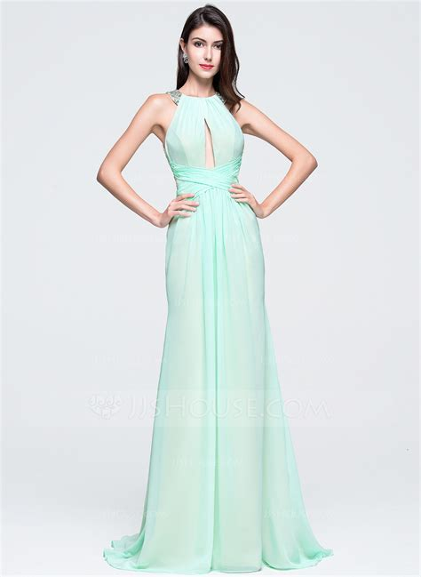 Trumpet/Mermaid Scoop Neck Sweep Train Chiffon Prom