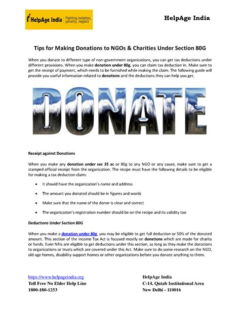 donation comes under which section tips for making donations to ngos charities under