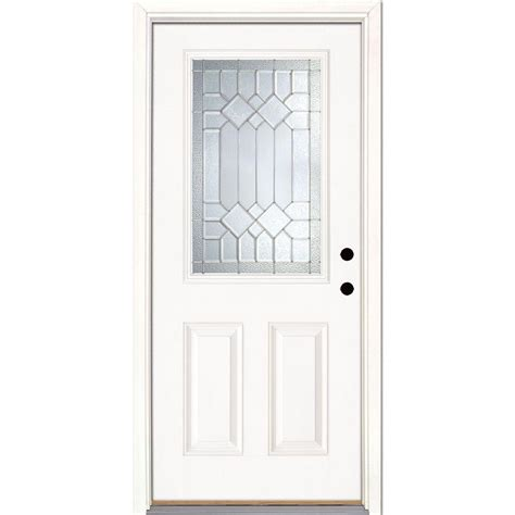 Fiberglass Exterior Doors Home Depot Feather River Doors 37 5 In X 81 625 In Mission Pointe Zinc 1 2 Lite Unfinished Smooth Left