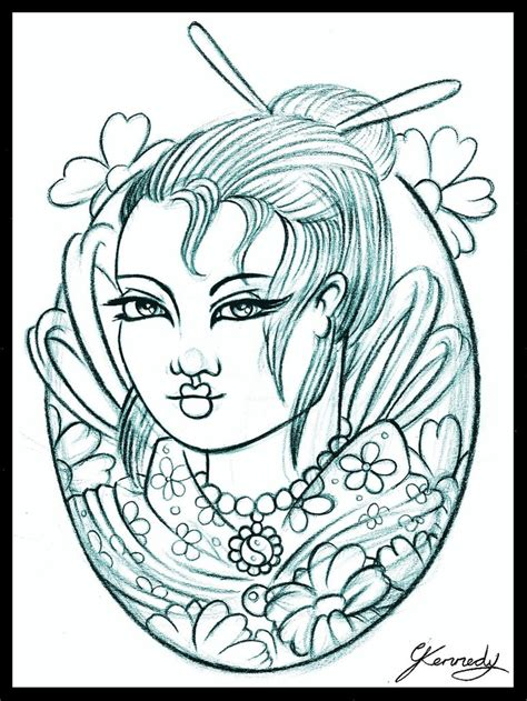 geisha tattoo design by thirteen7s on deviantart