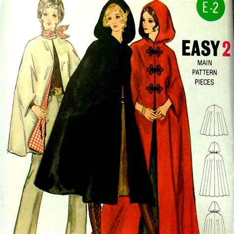 sewing pattern cape 70s vintage sewing pattern 70s hooded cape cloak butterick