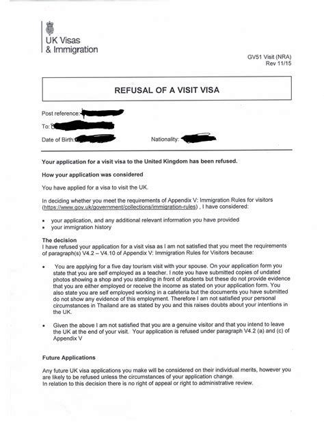 Rejection Letter For Visit Reason For A Uk Visa Refusal Travel Stack Exchange