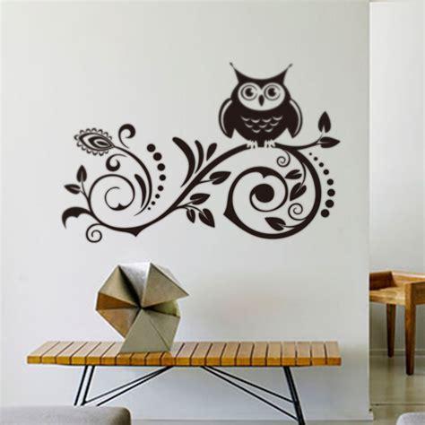 Owl Wall Art Stickers Owl Creative Black Owl Bird Tree Removable Vinyl Decal