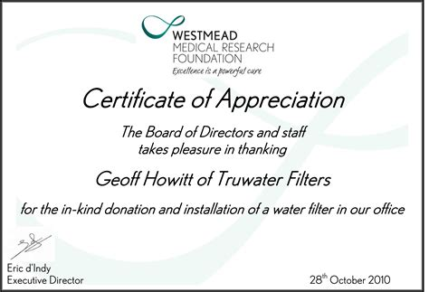 appreciation letter for service award tru water service appreciation and awards water filters