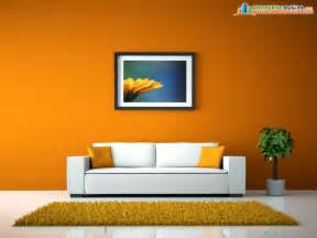 Room Wall Orange Background Drawing Room With White Sofa