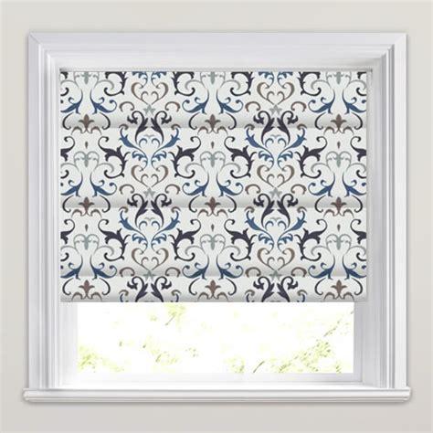 blue patterned blinds blue silver white damask patterned embroidered roman blinds