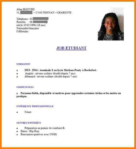 Ecrire Un Cv En Francais Exemple by Exemple De Cv Pour 233 Tudiant Ecrire Un Cv Gratuit Eval