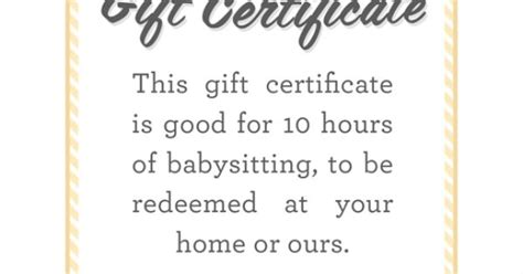 babysitting gift certificate template babysitting gift certificate fully customizable