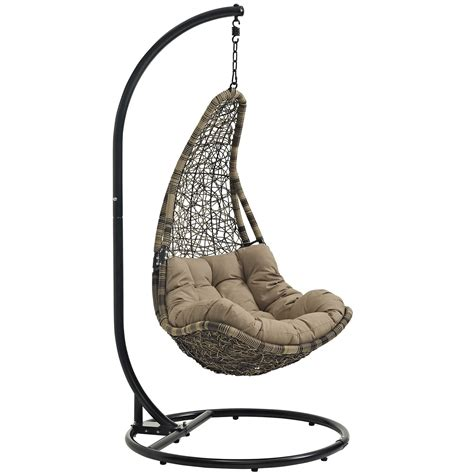 outdoor swing chair lexmod abate outdoor patio swing chair in gray white