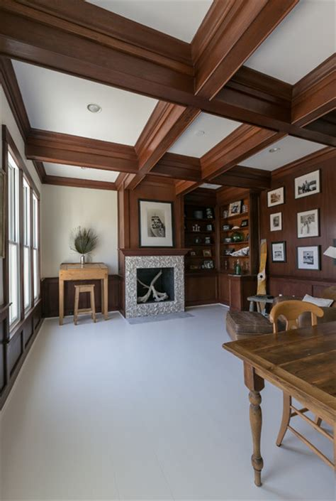 Stained Ceiling by Coffered Ceilings Mahogany Office Ceiling Stained Beams Style Home Office